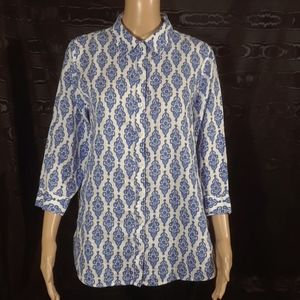 Chico's Blue and White Button-front Shirt - Size 2